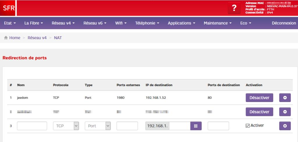 configuration box sfr pour jeedom