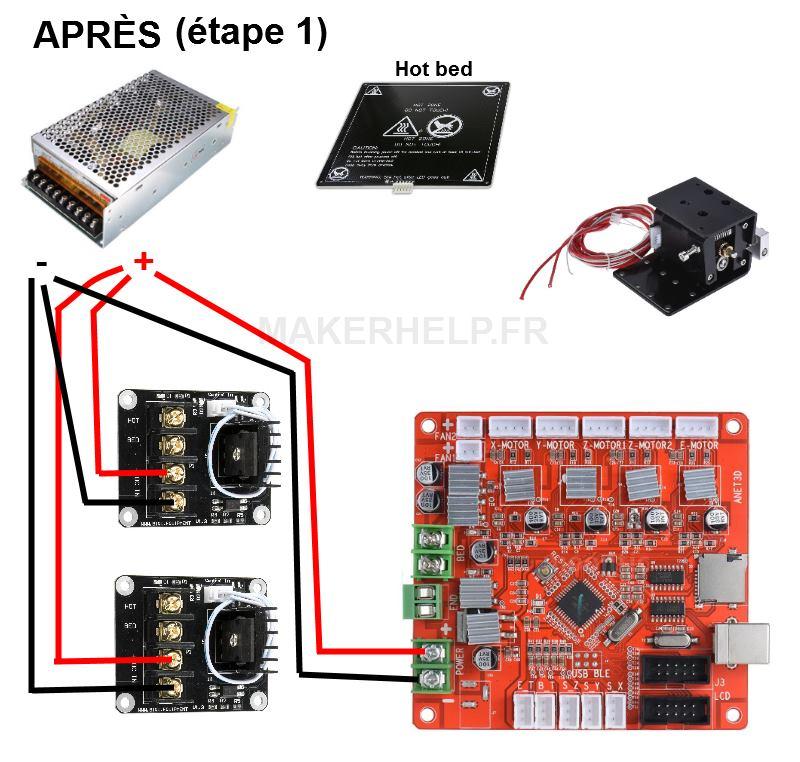 Montage de MOSFET sur une ANET A8 - étape 1