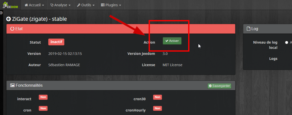 activation de plugin jeedom