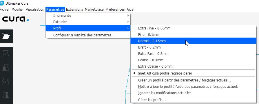Choix d'un profil d'impression dans Cura 3.6