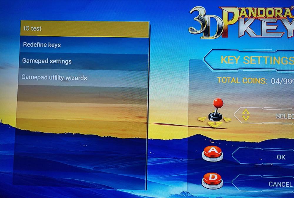 réglages des gamepads sur un Pandora