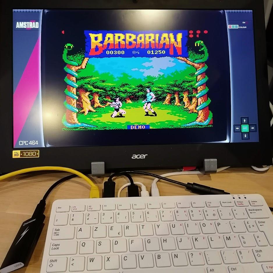 Barbarian Amstrad CPC sur Rasberry Pi 400
