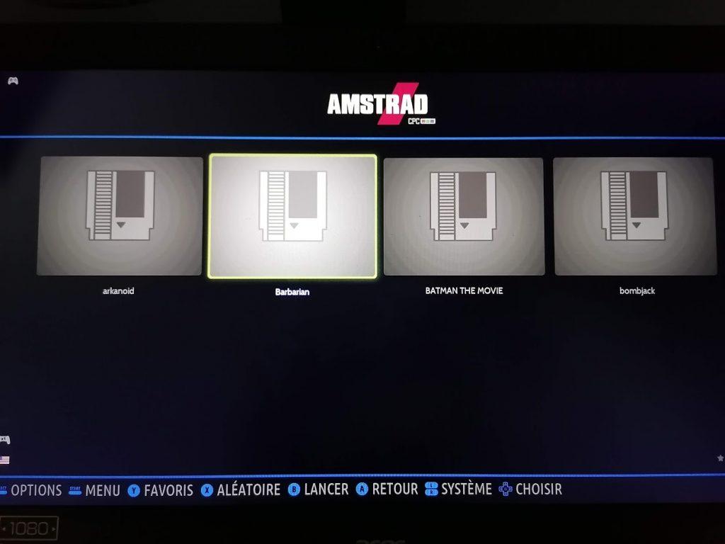 Quelques jeux Amstrad CPC sur Batocera