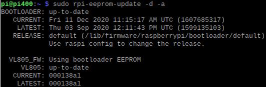 Upgrade du bootloader du Rasbperry Pi 400